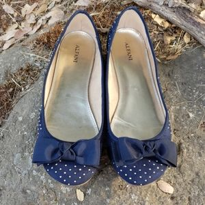 Alfani Flats Blue with Gold Hardware and Bows